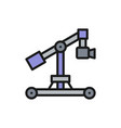 digital movie camera on dolly rails flat color vector image