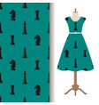dress fabric pattern with chess pieces vector image vector image