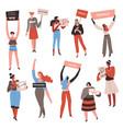 feminists with signboards female characters vector image