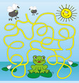 frog and house-fly maze vector image vector image