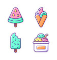 ice cream types rgb color icons set vector image vector image