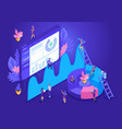 isometric design concept for landing page vector image vector image