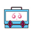 kawaii cute sad suitcase design vector image vector image
