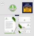 leaf eco fitness logo template and stationery vector image vector image