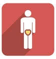 Male Love Flat Rounded Square Icon with Long vector image vector image