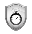 metallic shield with chronometer with cord vector image vector image