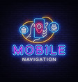 mobile navigation neon sign mobile vector image vector image