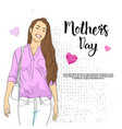 mothers day greeting card with smiling woman on vector image vector image