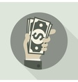Paper bank notes money signs in hand vector image