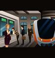 people buying train ticket vector image vector image
