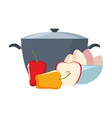 pot pepper and bowl eggs preparation cooking vector image vector image