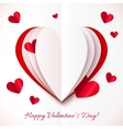 Red and white cutout paper heart vector image vector image