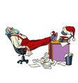 santa claus is tired and resting in office for vector image vector image