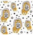 seamless childish pattern with cute cartoon lions vector image vector image
