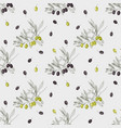 seamless pattern with green and black olives vector image