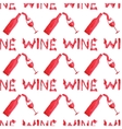 Seamless watercolor pattern with wine stuff on the vector image vector image