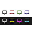 set computer network icon isolated on black and vector image vector image
