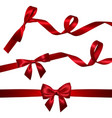 set of realistic red bow with long curled red vector image vector image