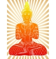 Silhouette of Buddha sitting on a striped vector image vector image