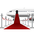 solemn boarding white airplane with red carpet vector image vector image