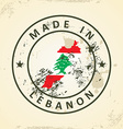 Stamp with map flag of Lebanon vector image vector image