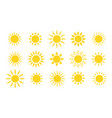 summer flat sun logo yellow suns circles bright vector image vector image
