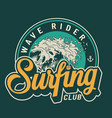 surfing club colorful badge vector image