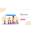 teamwork presentation or video conference in the vector image vector image