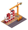 townhouse construction isometric composition vector image
