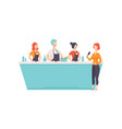 tv presenter interviewing cooks who cooking food vector image vector image