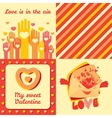 Valentine Day four greeting cards and pattern set vector image