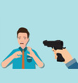 woman hand holding gun and young man looking vector image