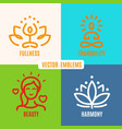 yoga icons line badges vector image vector image