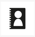 contacts book icon in simple black design vector image
