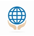 Earth in hand logo or icon vector image