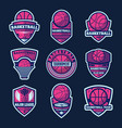 basketball league isolated label set vector image