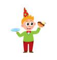 comic portrait of funny boy eating birthday cake vector image