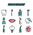 Stomatology flat icons set vector image