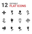 12 rose icons vector image vector image