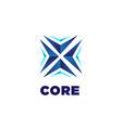 abstract blue core arrow business technology logo