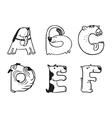 alphabet from A to F vector image