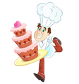 baker and cake vector image vector image
