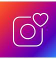 camera icon - camera and heart editable vector image vector image