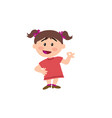 cartoon character girl in approval attitude vector image vector image