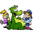 cartoon of a dinosaur having fun with kids vector image