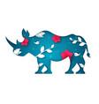 cartoon paper rhinoceros sky landscape vector image vector image