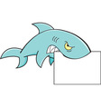 Cartoon shark holding a sign vector image vector image
