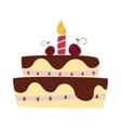 Chocolate cream birthday cake topped pie isolated vector image