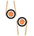 chopsticks hHolding sushi roll frame vector image
