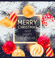 christmas design with white pine branch vector image vector image